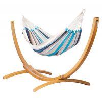Caribeña Aqua Blue - Amaca classica singola con supporto in larice FSC™ certificato